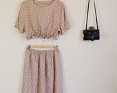 Beige and White Polka Dot 90s Print Twin Set Crop and Matching Midi Skirt Festival Summer