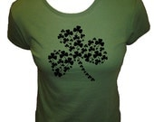 Shamrock 4 Leaf Clover Shirt -  T Shirt - Four Leaf Clover - St Patricks Day - Organic Bamboo / Cotton Womens Shirt - Gift Friendly
