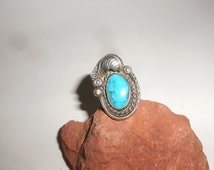 Bisbee Turquoise Peyote Button Detail Dead Pawn Navajo Hand Made Stone Ring- Vintage Native American Silver Jewelry