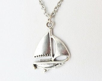 Sailboat Necklace, Boat Necklace, Ship Necklace, Nautical Jewelry,  Navigation Necklace, Trip, Cruise, Ocean, Sea, Captain, Silver Necklace,