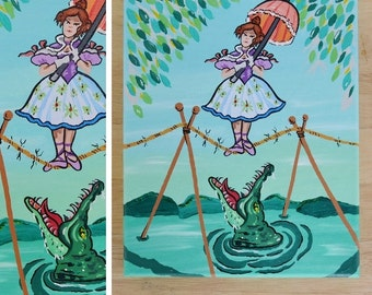 Haunted Mansion Tightrope Walker Portrait Original Painting