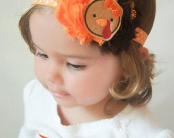 Turkey headband - Turkey hair bow - Felt turkey bow - Dainty headband - Orange and yellow headband - Baby girl turkey headband -