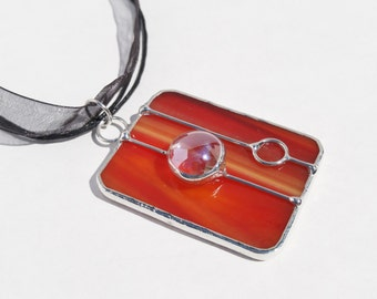 Tomato Red stained glass rectangle pendant free shipping one of a kind handmade