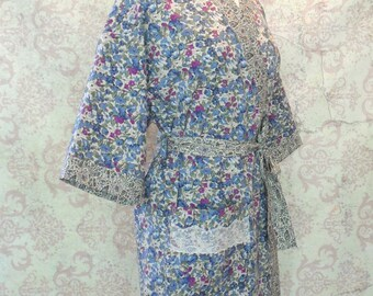 Women's Cotton Kimono Robe in Vintage Blue Floral, Paisley // Retro, Romantic Gift