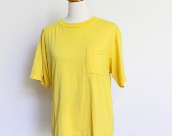 Vintage Pocket T Shirt Soft Thin // 50 50 Boxy Pocket Tee Yellow