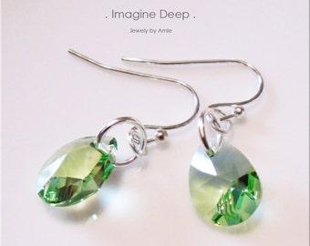 50% off SPECIAL Light Green Crystal Earrings Sterling Silver Peridot -like Swarovski Crystal Teardrop Pear Birthstone Dangle Earrings