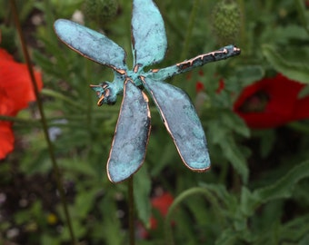 Dragonfly - garden stake - copper patina
