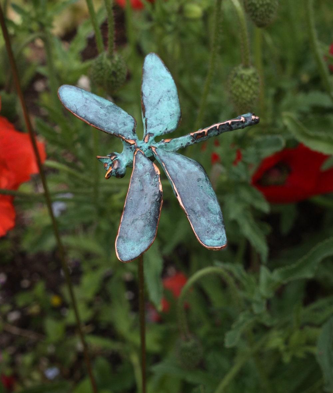 Dragonfly garden stake copper patina