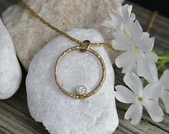 14k Yellow Gold Diamond Pendant, Recycled Materials, Eco-Friendly, Circle Pendant, Everyday Necklace, Ready to Ship Neckwear
