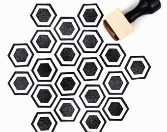 Rubber Stamp Honeycomb Pattern (Sm) - Hand Drawn Geometric Hexagon Pattern Stamp
