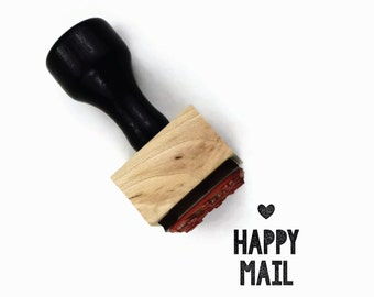 Rubber Stamp Happy Mail - DIY Snail Mail Packaging - Wood Mounted Stamp