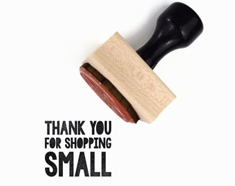 Thank You for Shopping Small Stamp | Wood Mounted Rubber Stamp | For the Maker DIY Packaging Tag | Rubber Stamp by Creatiate