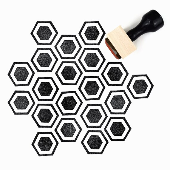 Rubber Stamp Honeycomb Pattern (Sm) - Hand Drawn Geometric Hexagon Pattern Stamp