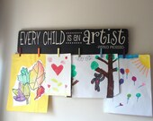 Every Child Is An Artist Children's Art Display Board Wood Sign