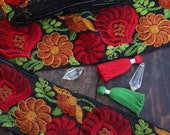 "Autumn Splendor: Red, Orange, Green Embroidered Silk Trim, Ribbon, Sari Border, India 2.75""x1 Yard, Floral Craft, Sewing Supplies, Fall DIY"