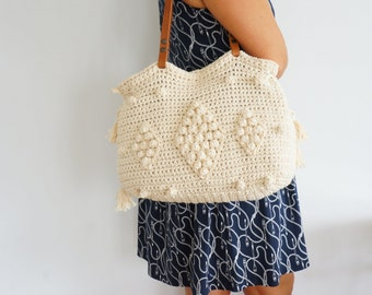 Beige Crochet Bag  Tote Bag Shoulder Bag  Leather Bag  Handmade Bag Cotton Bag Summer Bag- Gift For Her Christmas Gift Crochet Tote