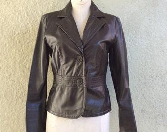Sisley Leather Jacket - Brown Leather Jacket - leather Blazer - Flight Jacket - Fitted Jacket