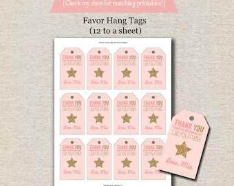 Twinkle Twinkle Little Star Favor Tags - pink and gold | Twinkle Twinkle Little Star Thank You Tags | Twinkle Twinkle Little Star Birthday