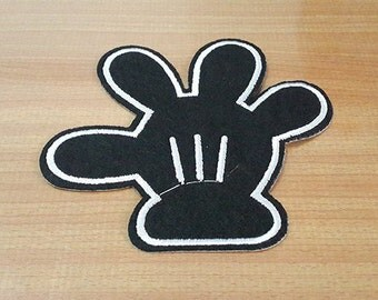 "Black Mickey Mouse Hand Glove Embroidered Iron on Patch size 4 1/4"" x 4"""