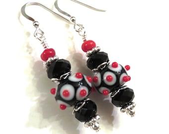 Black & Red Lampwork Earrings With Black Swarovski Crystals, Red Earrings, Black Earrings, Lampwork Jewelry