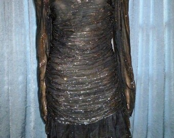 "Vintage - 80's -Sexy - Gold Metallic - Ruched - Black - Embellished Rhinestone - Prom -Mini - Dress - 34""- 38"" bust"