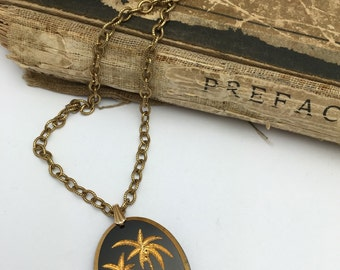Palm Tree Necklace Glass Pendant Vintage Necklace black and gold
