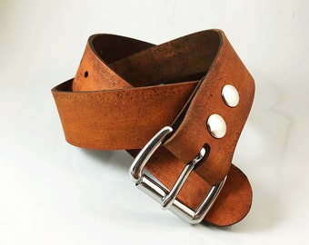 "Antiqued Leather Belt - 1.5"" in strap width - Handmade"