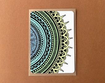 Beautiful mandala card, FULL GYPSY RAINBOW, zentangle card, general note card