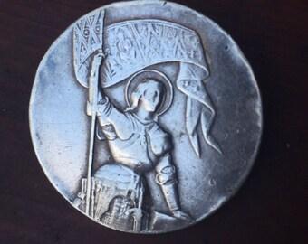 Saint Joan of Arc Vintage Sterling Brooch Religious Jewelry