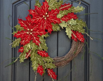 READY TO SHIP Christmas Wreath Winter Wreath Holiday Door Decor Poinsettia Red Green Holly Gold Accent Floral Door Decoration Indoor Outdoor