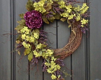Summer Fall Wreath Purple Berry Branches Twig Woodsy Wispy Grapevine Door Wreath Decor Use Year Round Indoor/Outdoor Purple Green