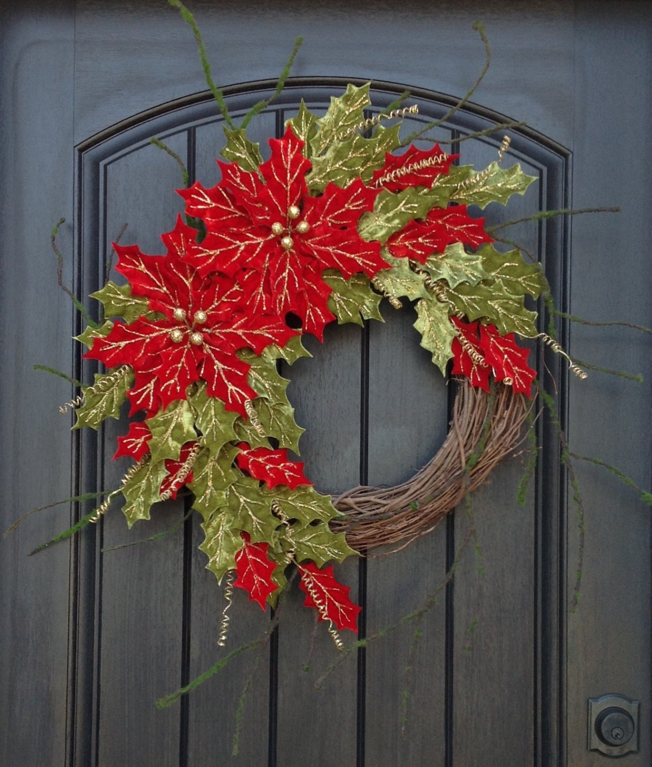 Ready to ship christmas wreath winter wreath holiday door for Outdoor christmas wall decorations