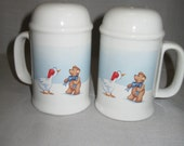 House Of Lloyd Christmas Duck And Bear Large Salt & Pepper Shakers 1989