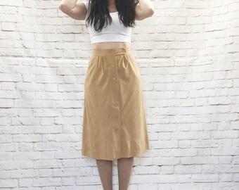 Vintage 70s Tan Suedette Office Skirt Knee Length Button-Down High Waist Pockets S M Velveteen