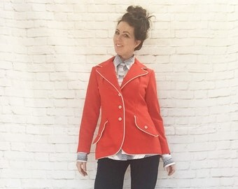 Vintage 60s Mod Military Red Blazer Jacket White Piping Trim Wide Collar M L