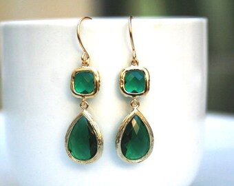 Gold Green Earrings. Emerald Earrings. Emerald Green.Deep Green.Dark Green.Bridal Earrings.Bridesmaid Earrings.Wedding.Bridesmaid Gift.Gold