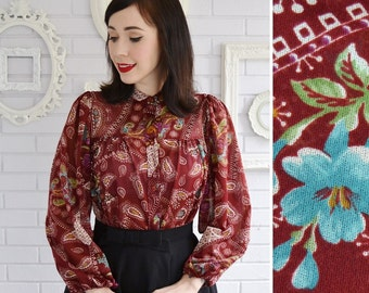 Vintage Sheer Blouse with Paisley and Floral Print by Sunday Times Size Small