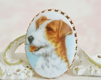 Vintage Jack Russell Dog Cameo Brooch