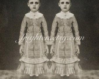 Halloween Wall Art, Creepy Twins, Black and White, 8.5 x 11 Inch Print, Dark Wall Decor, Spooky Art