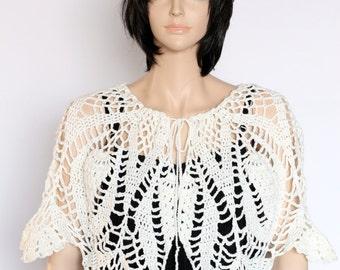 Crochet Capelet, Crocheted Shawlette, Off-White Poncho Bridal Capelet,  Bridal Shawl, Shoulder Shawl, Women's Shawl,  Women's Shawlette,