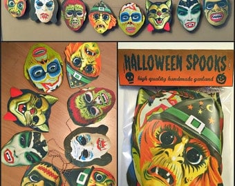 Hallows Eve Masks Garland Halloween Banner