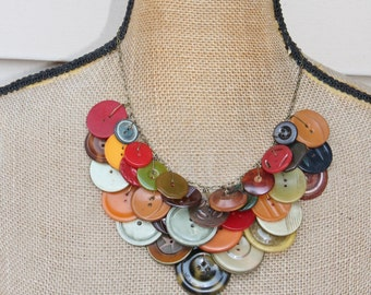 NEW Vintage BAKELITE Button Necklace,Statement,Award Winning Design,Yellow,Red,Earth Toned Buttons on antique Brass Chain,Repurposed,La