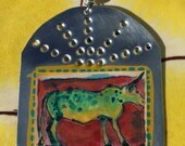 Santa Fe Long Horn Cow  - Retablo - Southwestern Christmas Ornament - Tin Ex Voto / MilagrO - Cathy DeLeRee