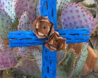 Cholla Wood Cross - Sacred works of the High Desert - Santa Fe BLUE - Original Art / Cathy DeLeRee