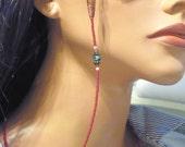 Eyeglass Holder - 30 Inch Beaded Eyeglass Leash - Gold Flower - Handmade Eyewear - Long Womens Eyeglass Chain - Maroon Mauve Green