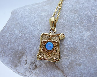 Opal Magen David Necklace. Star of David on Parchment Scroll Style. Gold Star of David Pendant. Judaica Jewelry. Opal Jewish Star Necklace