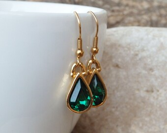 Green Emerald Drop Earrings, Gold Green Swarovski Earrings, Emerald Teardrop Earrings, Crystal Teardrop Earrings, Green Bridesmaid Earrings