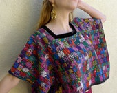 "Guatemalan handwoven vintage huipil TacTec colorful multicolor cotton short poncho style - blouse  32"" wide x 17"" long"