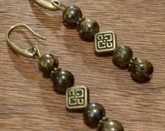 Celtic Bronzite Earrings  (E1048)