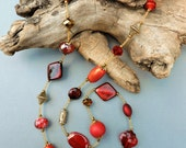 """Extra long necklace, long necklace, 38"""", red and gold necklace, Middle East inspired, red, gold, Vintage, dramatic"""